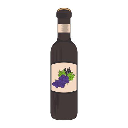wine bottle icon image over white background, vector illustration