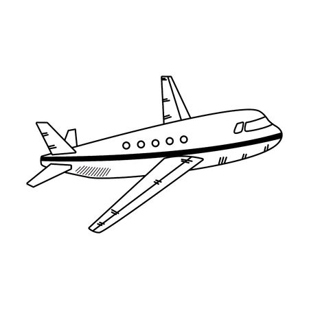 airplane icon over white background, black and white design. vector illustration Иллюстрация