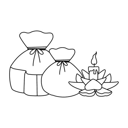 lucky bags and lotus candle icon over white background, black and white design. vector illustration Illustration