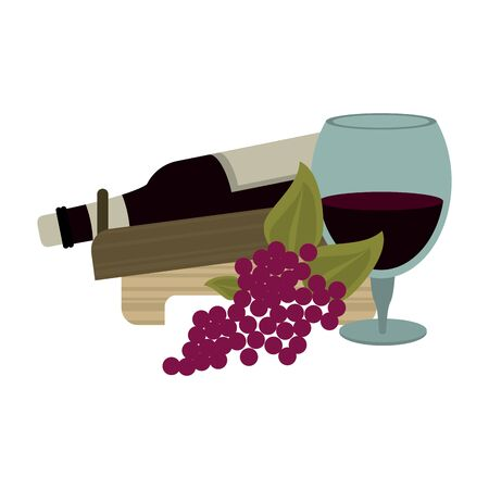 holder with a wine bottle and bunch of grapes over white background, vector illustration
