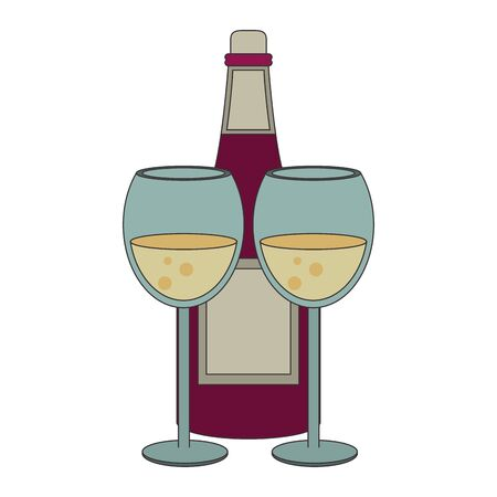 wineglasses and wine bottle icon over white background, vector illustration