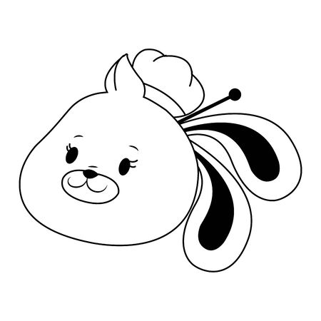cartoon bunny with oriental fashion style icon over white background, vector illustration