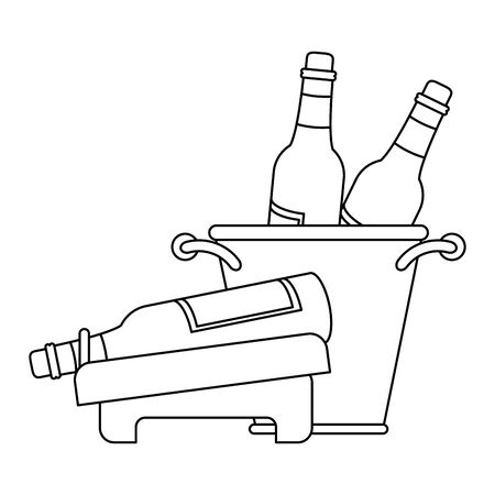 ice bucket with wine bottles and holder with wine bottle over white background, vector illustration 向量圖像
