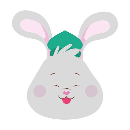 cartoon rabbit head with hat icon over white background, colorful design. vector illustration