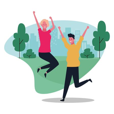 happy young couple having fun in the park over white background, colorful design. vector illustration