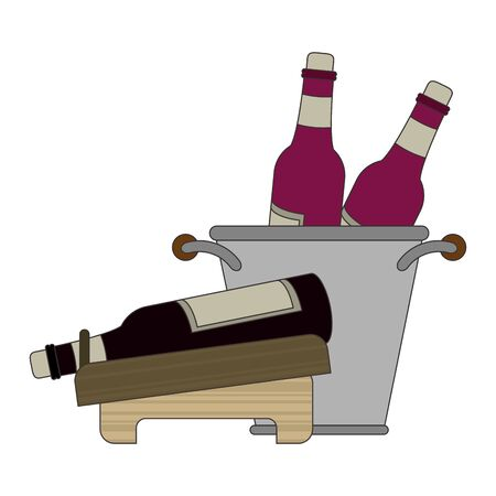ice bucket with wine bottles and holder with wine bottle over white background, vector illustration 일러스트