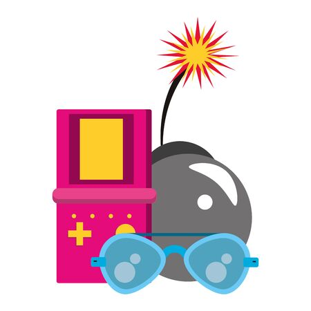 retro glasses and videogame bomb with burning fuse over white background, vector illustration  イラスト・ベクター素材