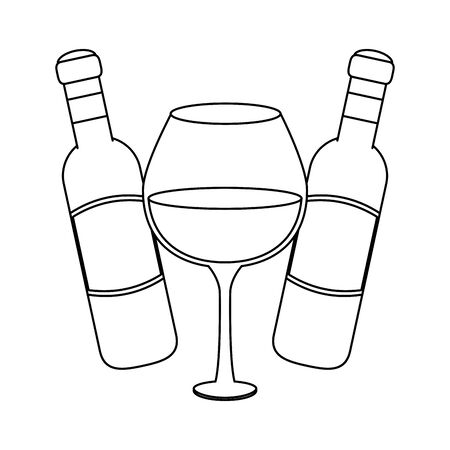 wine glass and bottles icon over white background, vector illustration