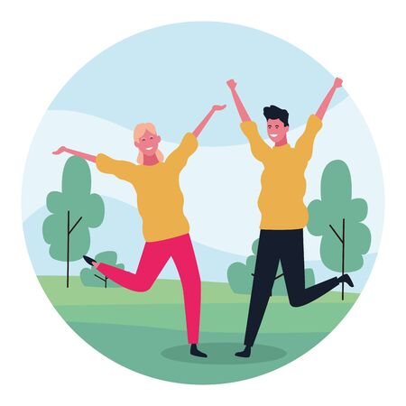 cartoon happy couple having fun in the park over white background, colorful design. vector illustration Çizim