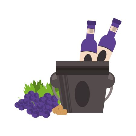 ice bucket with wine bottles and bunch of grapes over white background, vector illustration 일러스트