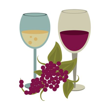 glasses of wine and bunch of grapes over white background, vector illustration 일러스트