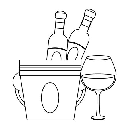 ice bucket with wine bottles and glass over white background, vector illustration