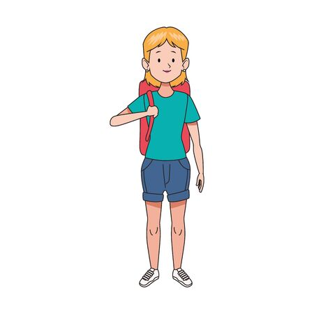 cartoon woman standing with a backpack icon over white background, colorful design. vector illustration