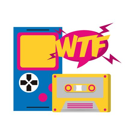 retro videogame portable and casette over white background, vector illustration