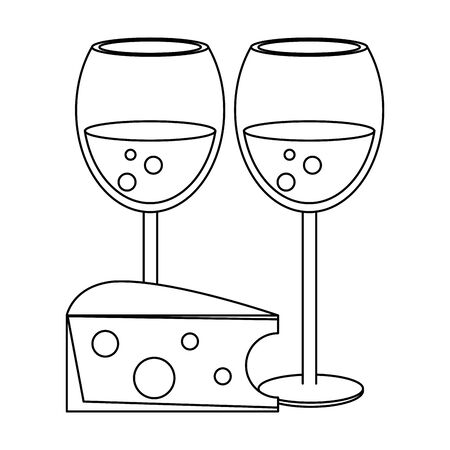 wine glasses and piece of cheese over white background, vector illustration 일러스트