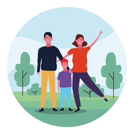 Happy family with son in the park over white background, colorful design. vector illustration