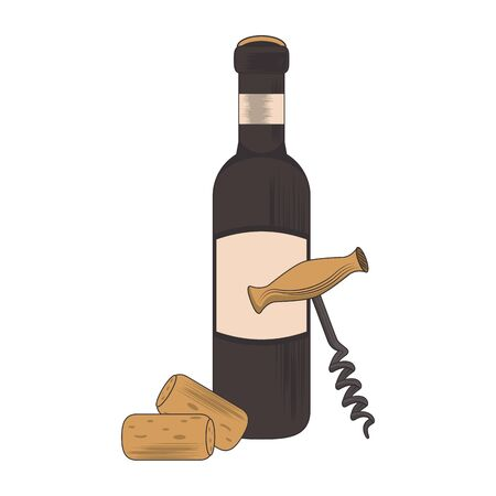 Corkscrew and wine glass over white background, vector illustration 일러스트