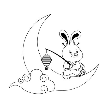 cute rabbit on the moon with chinese lantern over white background, black and white design. vector illustration