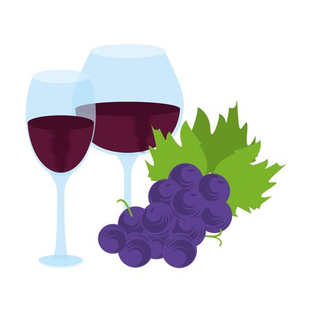bunch of grapes and wine glasses over white background, colorful design. vector illustration