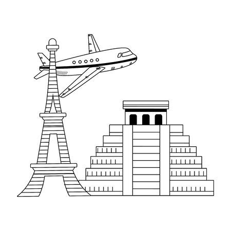 iconic monuments and airplane flying over white background, vector illustration
