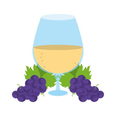 bunch of grapes and wine glass icon over white background, vector illustration