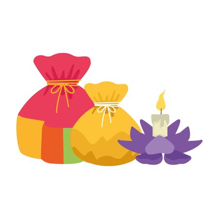 lucky bags and lotus candle icon over white background, colorful design. vector illustration