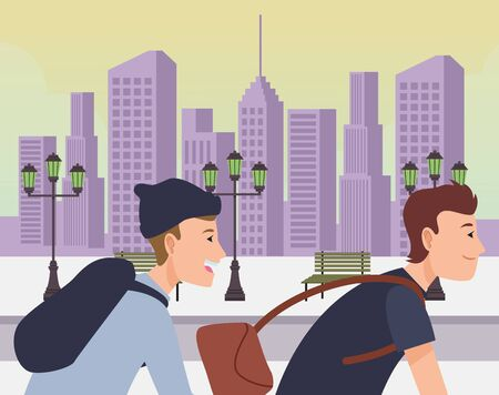 Young people with backpack and bag riding bicycles cartoon in the city urban scenery background ,vector illustration graphic design. Stock Illustratie