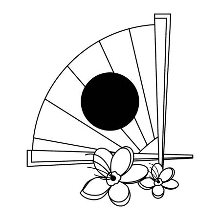 chinese hand fan and blossom flowers icon over white background, vector illustration