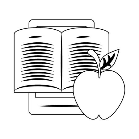 tablet and apple fruit over white background, vector illustration