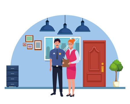 Professionals workers police officer and secretary smiling cartoons in the office with drawers and cabinets ,vector illustration graphic design. Ilustração