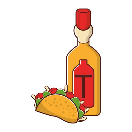 mexico culture and foods cartoons tequila bottle and taco vector illustration graphic design  イラスト・ベクター素材