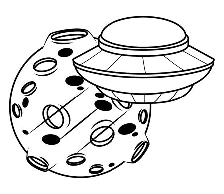 space exploration flying saucer and planet in black and white icon cartoon vector illustration graphic design Иллюстрация