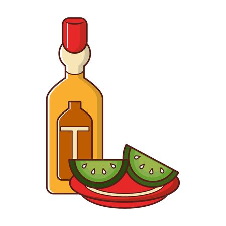 mexico culture and foods cartoons tequila bottle and plate cut lemons vector illustration graphic design