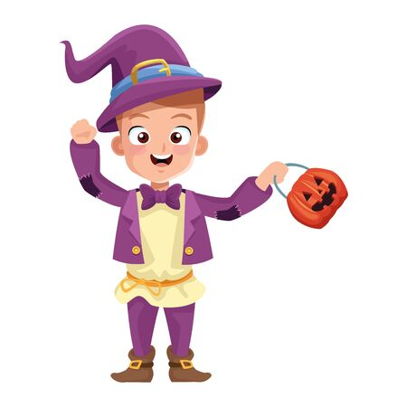 little boy with magician costume character vector illustration design
