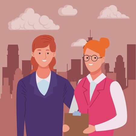 Professionals workers businesswoman and secretary with clipboard smiling cartoons in the city urban scenery ,vector illustration graphic design. Ilustração