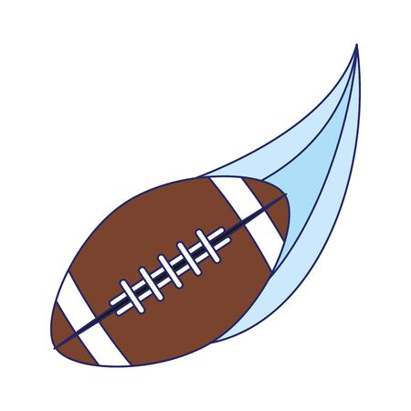 american football ball flying out over white background, vector illustration
