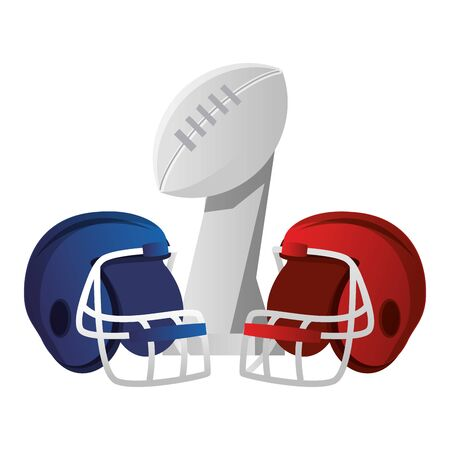 american football sport game champion trophy with helmets cartoon vector illustration graphic design 向量圖像