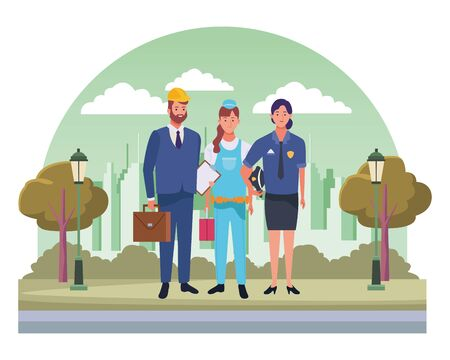 Professionals workers smiling with work tools cartoons in the city, urban scenery background ,vector illustration graphic design. Ilustração