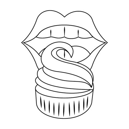 female lips with sweet muffin over white background, vector illustration