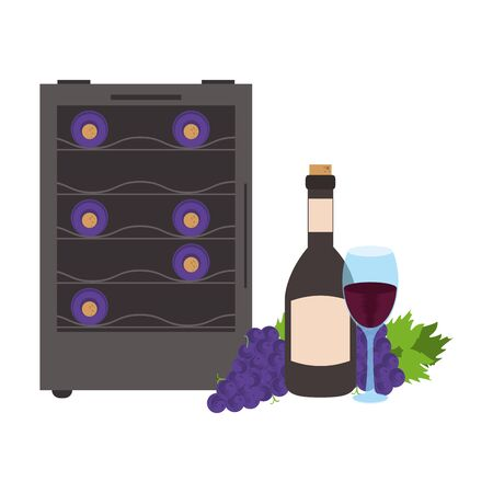 wine cooler fridge with bottle and wineglass icon over white background, vector illustration