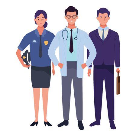 Professionals workers smiling with work tools cartoons ,vector illustration. Ilustração