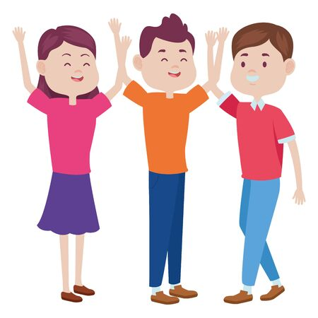 Teenagers friends with casual clothes smiling and greeting cartoons ,vector illustration graphic design.