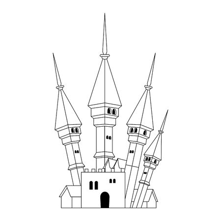 halloween dark castle isolated icon vector illustration design Illusztráció