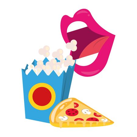 pop art style design with bigh mouth eating pop corn and pizza slice over white background, vector illustration