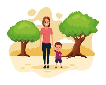 Family single mother with little boy cartoon in the nature park scenery vector illustration graphic design