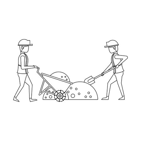 construction architectural engineering work, workers making heavy work in construction site cartoon vector illustration graphic design Çizim