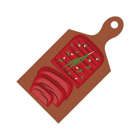 Barbecue food steaks on tables isolated vector illustration graphic design