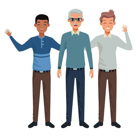 Family old father with adultt sons greeting and smiling vector illustration graphic design