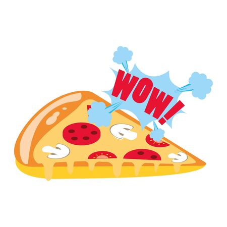 pop art design of pizza slice icon over white background, vector illustration