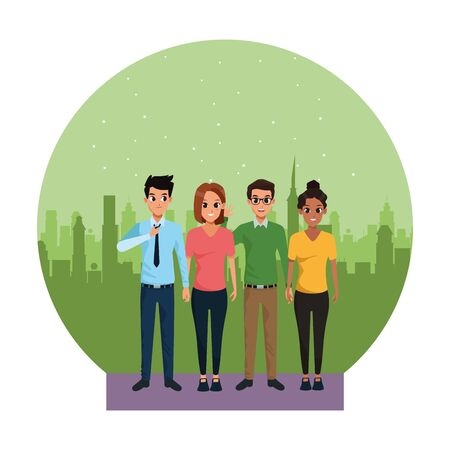 Two young couples, boyfriends and girlfriends smiling cartoons in the city urban scenery background ,vector illustration graphic design.